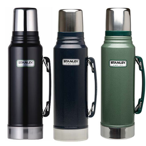 stanley classic drinks flask 1 litre stainless steel black green 1l new thermos ebay. Black Bedroom Furniture Sets. Home Design Ideas