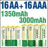 16 AA + 16 AAA 1350mAh 3000mAh 1.2V NI-MH Rechargeable Battery 2A 3A BTY Green