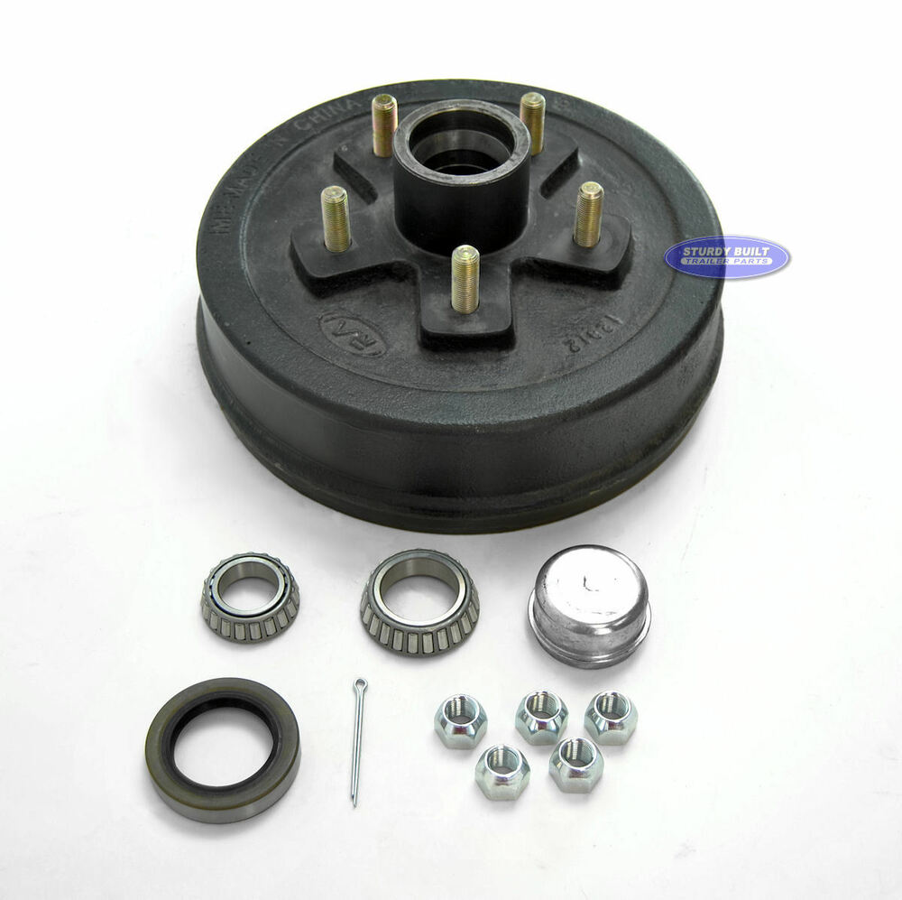 Camper Axle Parts : Trailer brake drum hub with bearing bolt lug quot