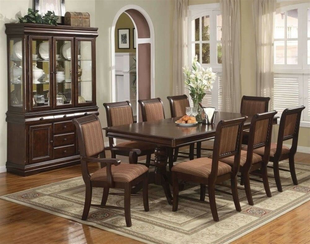 Merlot 9 piece formal dining room furniture set pedestal for Dining table set
