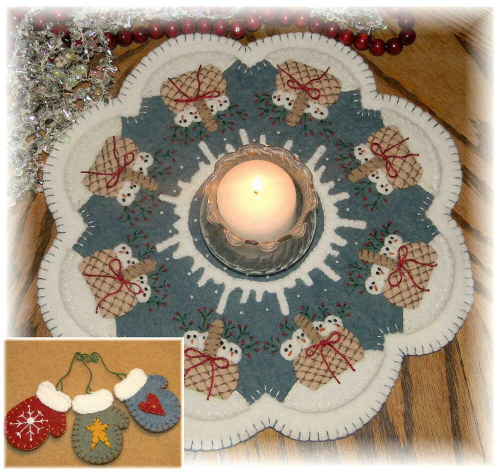 ~*SnOw BaBiEs*~ Winter/Christmas Penny Rug/Candle Mat