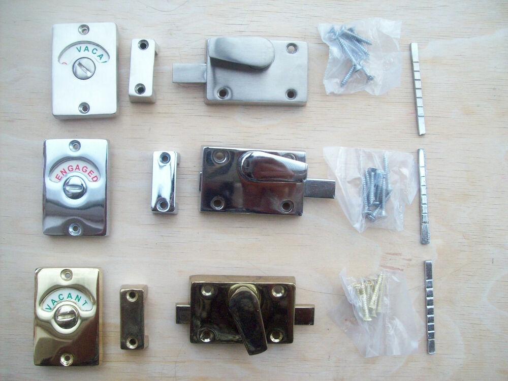in 3 finishes WC Vacant Engaged Toilet Bathroom door lock Indicator bolts    eBay. in 3 finishes WC Vacant Engaged Toilet Bathroom door lock