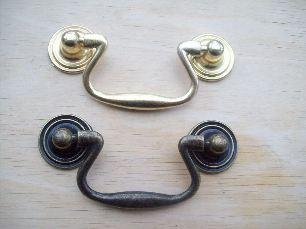 Antique brass drawer cupboard cabinet drop pull handles ebay - Drop pulls for cabinets ...