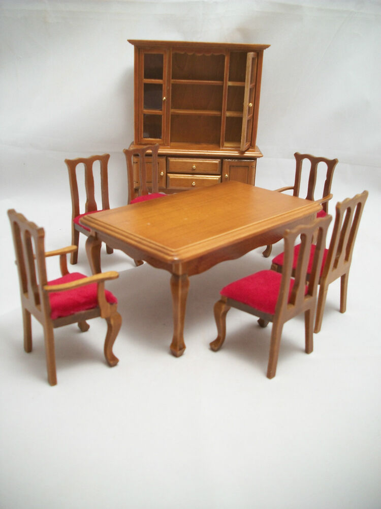 Dining Room Set w Hutch & Chairs walnut dollhouse 1/12 scale T0052 8pc ...