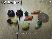 DOLLS HOUSE MINIATURE FOOD SELECTION 9 VEGETABLES 1/12th SCALE CARROTS PUMPKINS