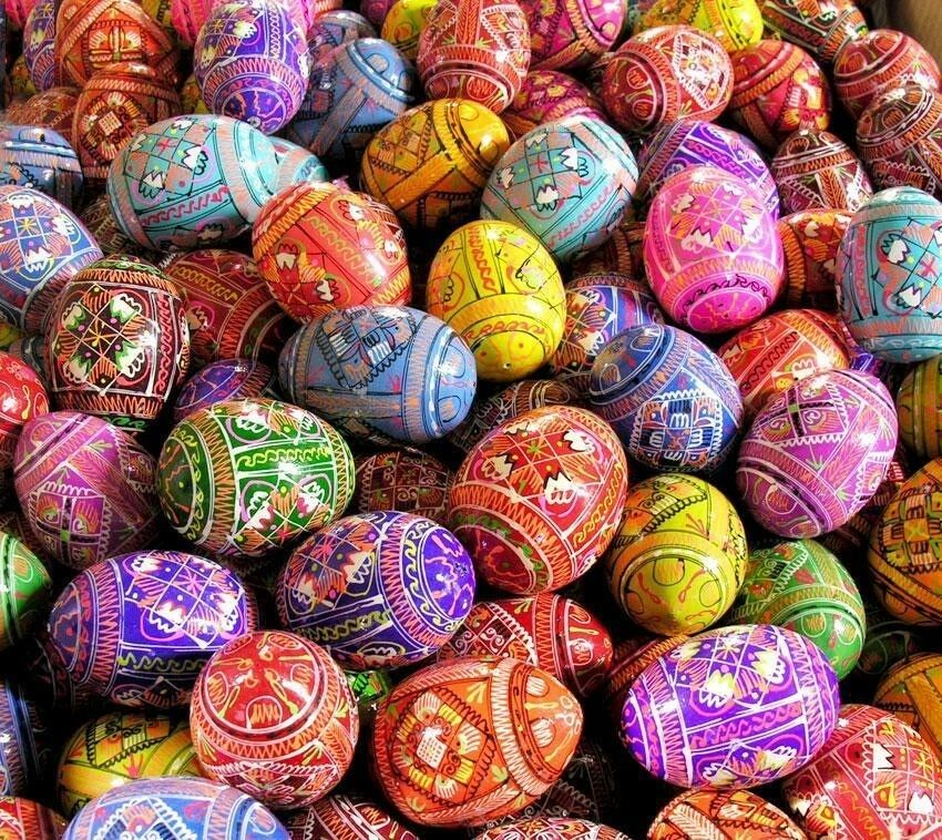 Assorted Wooden Painted Ukrainian Easter Egg Eggs Pysanky