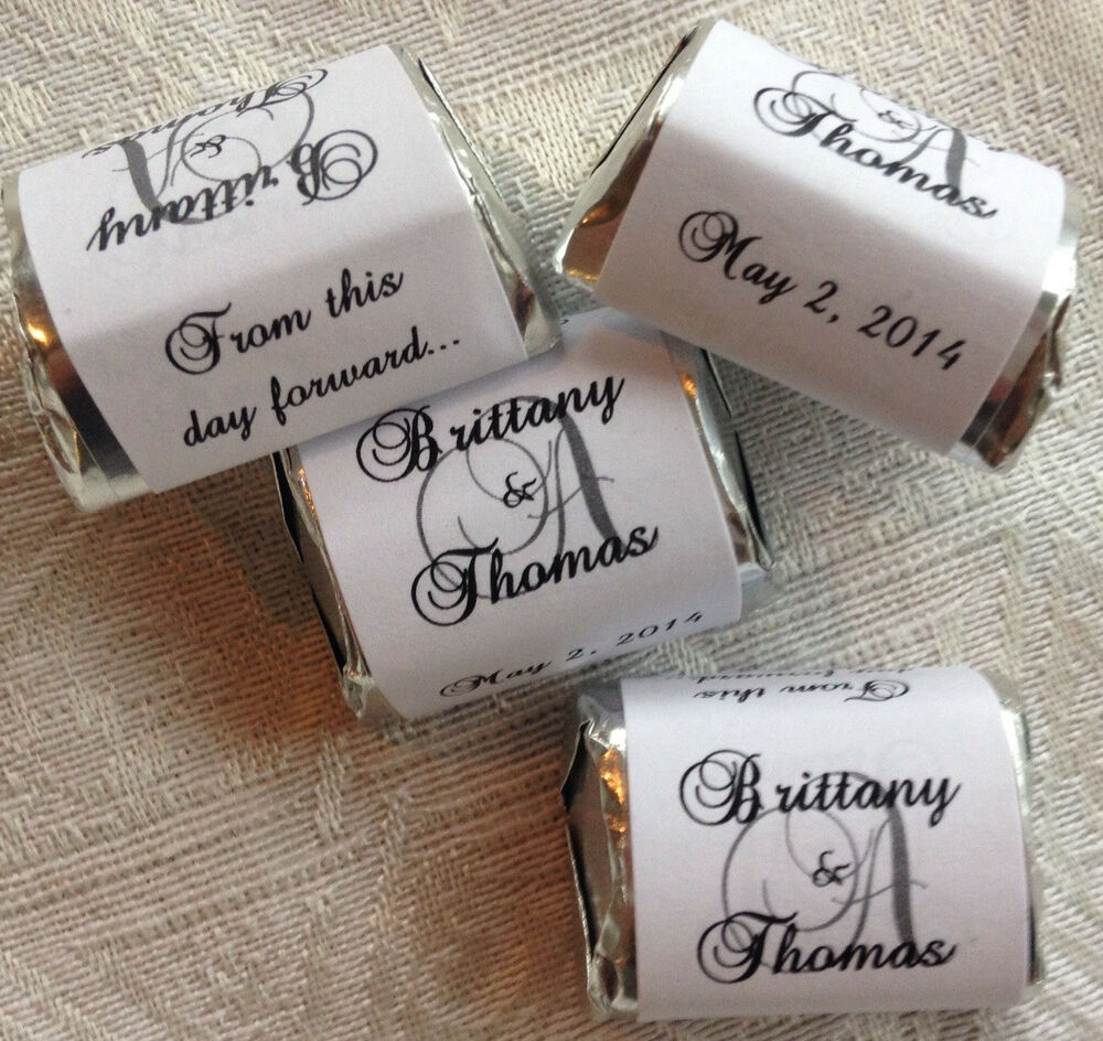 120 Monogram Themed Wedding Candy Wrappers Stickers Labels