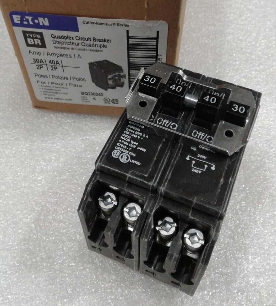 Cutler Hammer Bq230240 New Quad Circuit Breaker 30  40  30