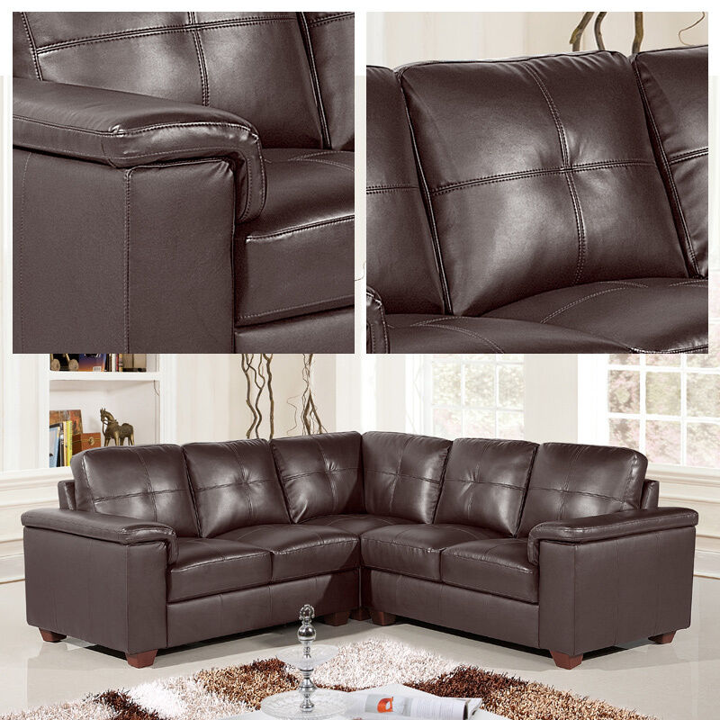 Large Leather Corner Sofas: Windsor Large Dark Brown Leather Corner Sofa Group With 5