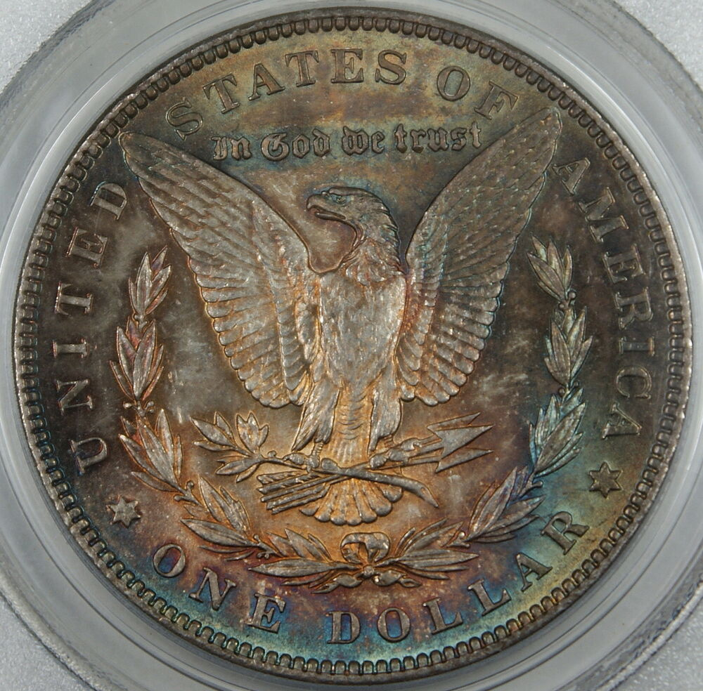 1886 Morgan Silver Dollar Coin Pcgs Ms 65 Toned Ebay