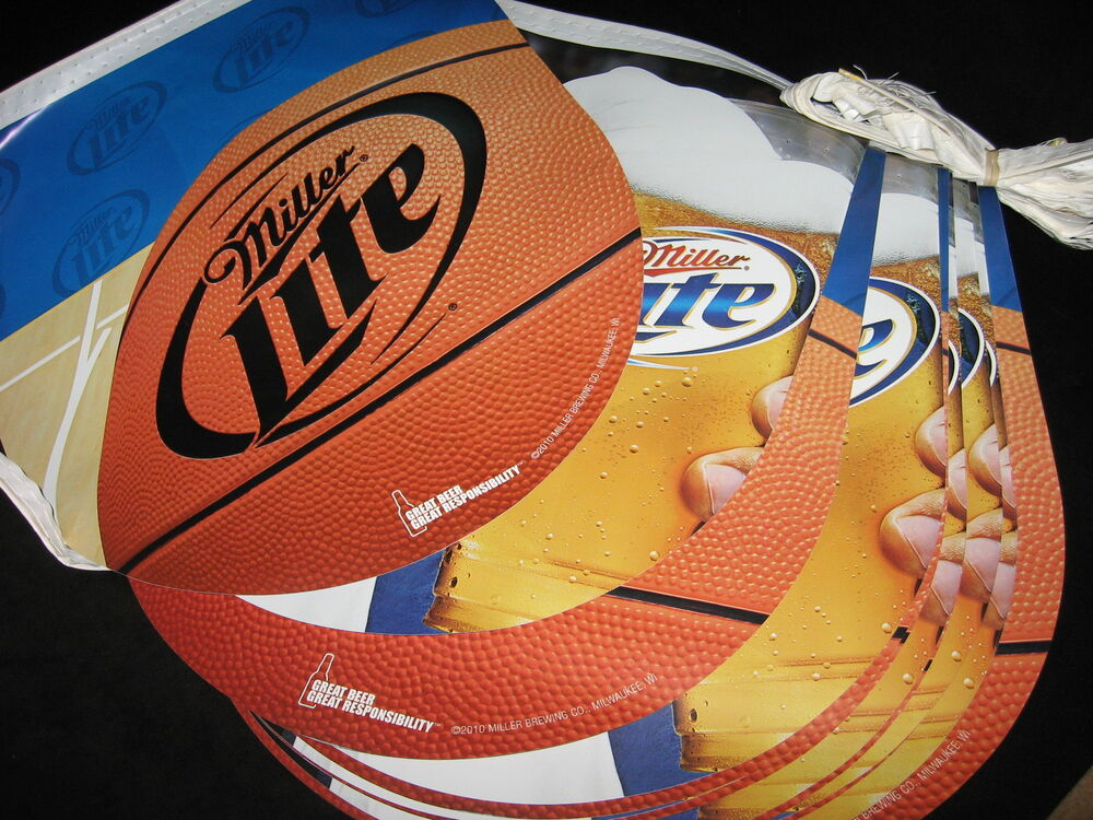 miller lite basketball string banner beer pennant man cave sign light mgd t 30 ebay. Black Bedroom Furniture Sets. Home Design Ideas