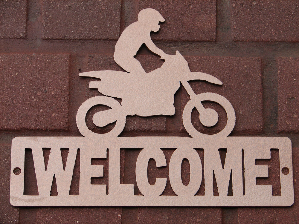 dirt bike welcome sign home decor plaque moto suzuki honda yamaha ktm kawasaki ebay. Black Bedroom Furniture Sets. Home Design Ideas