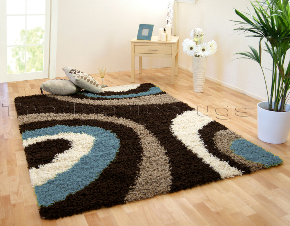 Extra Large Chocolate Brown Blue Thick Swirl Shaggy Rug
