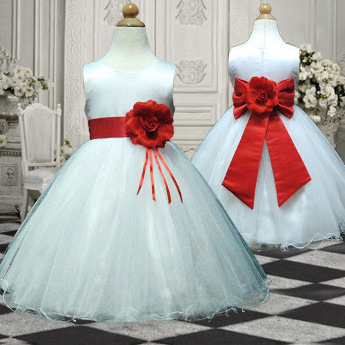 Ukmd57 red christmas wedding pageant baby gift flower girls dress 1 13