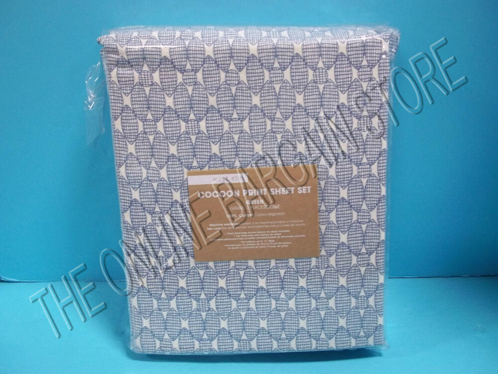 Pottery Barn West Elm Cocoon Print Bed Sheets Set Queen