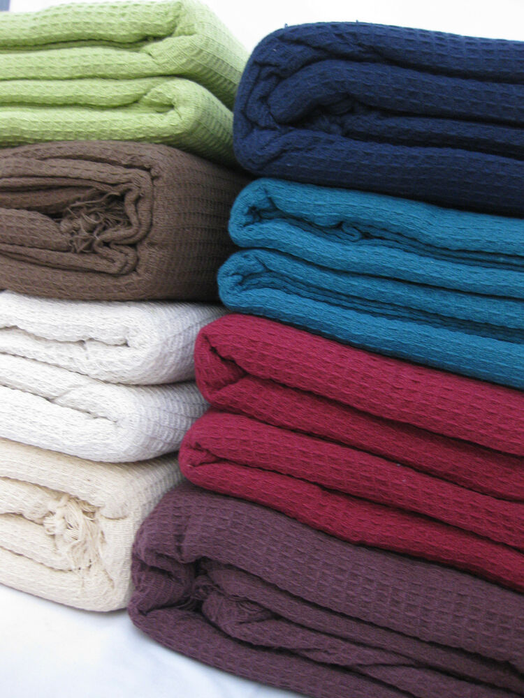 LARGE 100% Cotton Woven Sofa / Bed Throw 9 Colours & 5