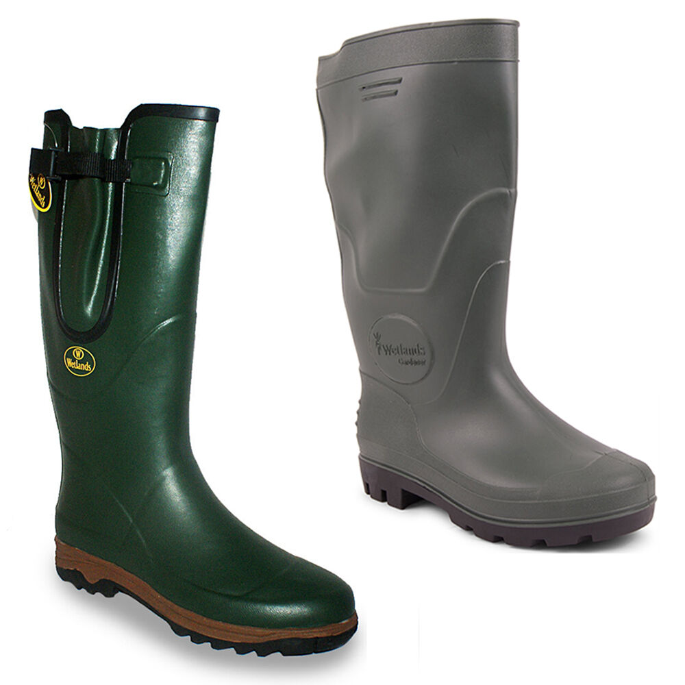 Mens hunting fishing waterproof walking wellies rain for Waterproof fishing boots