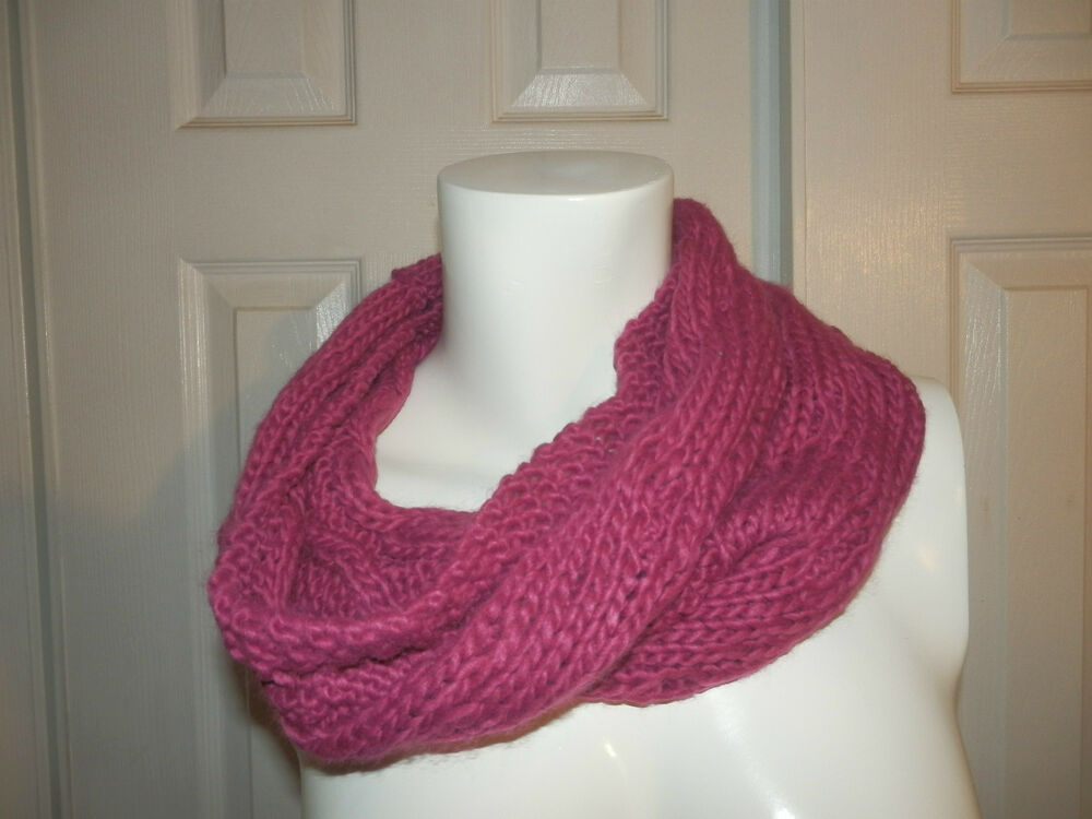 Tube Cowl Knitting Pattern : Violet knit cowl neck circle infinity tube scarf From Hot Topic eBay