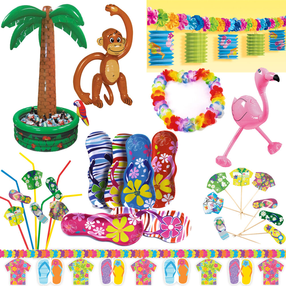 hawaii deko party starndparty beachparty motto strand beach set ebay. Black Bedroom Furniture Sets. Home Design Ideas