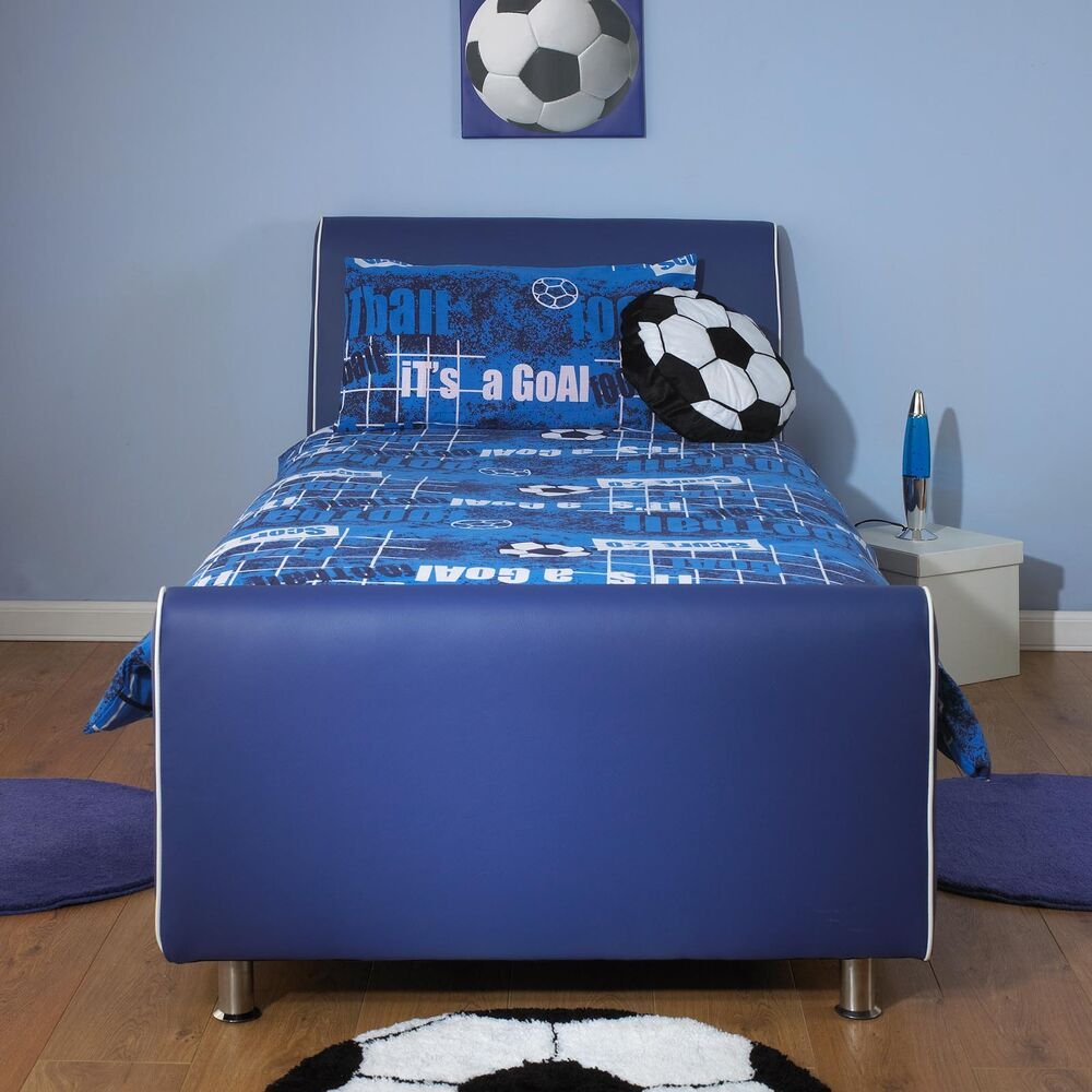 Next Day Delivery Bedroom Furniture Azure Boys Blue 3ft Single Faux Leather Bed Free Next Day Delivery