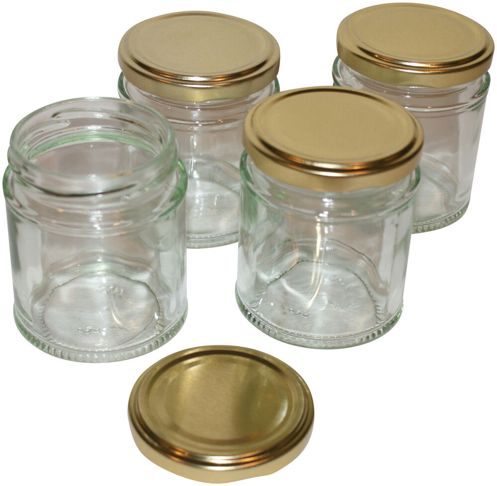 8 quality 39 medium 39 size glass jars with lids ideal for making beautiful candles ebay. Black Bedroom Furniture Sets. Home Design Ideas