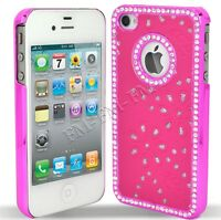 PINK BLING DIAMOND LEATHER BACK CASE COVER FOR IPHONE 4S 4G