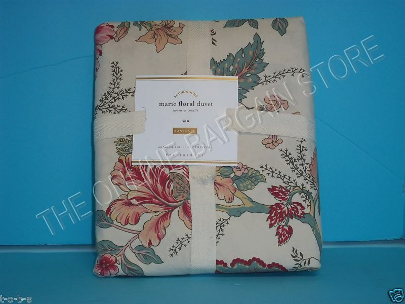 Pottery Barn Marie Floral Flower Blooms Blossoms Bed Duvet