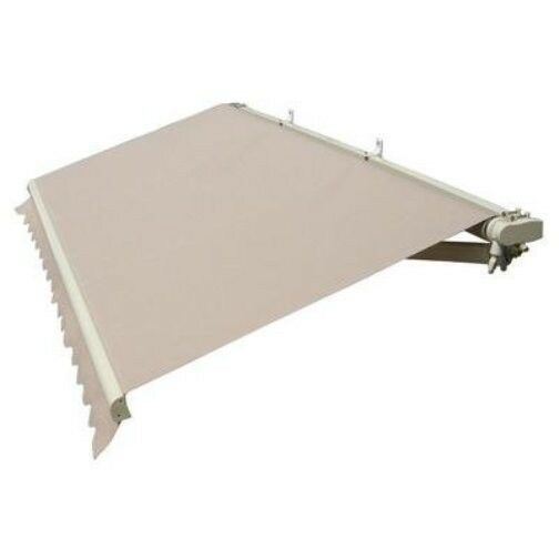 RETRACTABLE AWNING PATIO AWNING SOLID BEIGE COLOR CANOPY ...