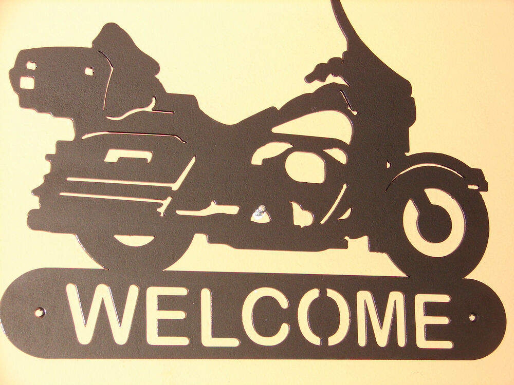 Motorcycle full dressed harley davidson welcome plaque for Motorcycle decorations home