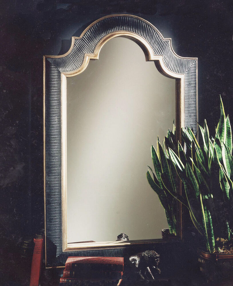 Hollywood Regency Ribbed Arch Black Amp Gold Wall Mirror Ebay