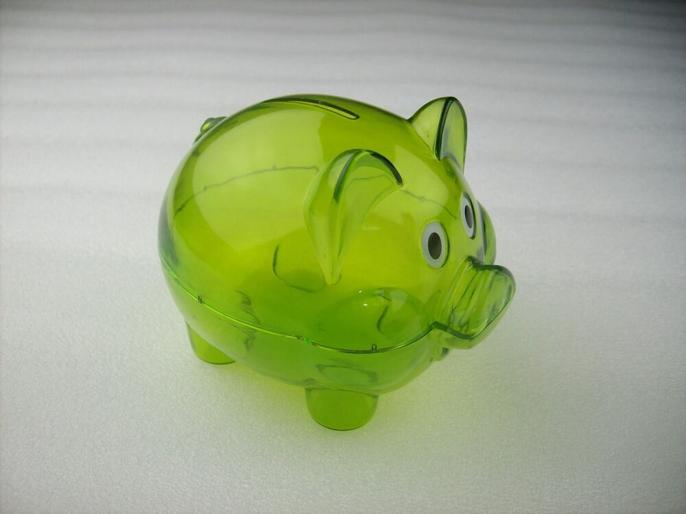 Mini transparent plastic coin pig piggy money bank green for Mini piggy banks
