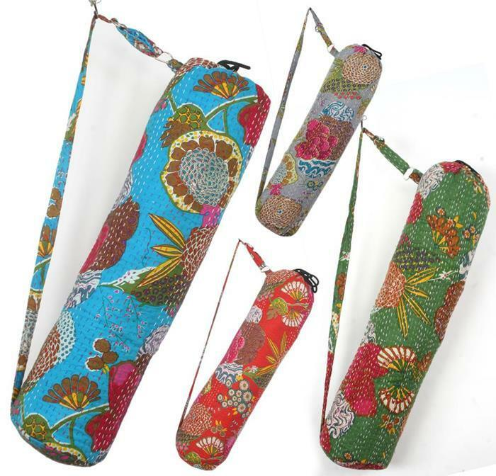 10 New Kantha Quilt Yoga Mat Bags Wholesale Lot With