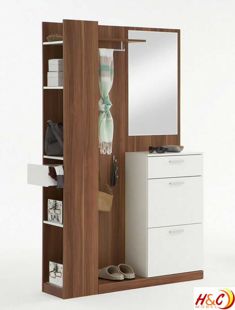 garderobe wandgarderobe schuhschrank spiegel schrank mod g137 nussbaum weiss ebay. Black Bedroom Furniture Sets. Home Design Ideas