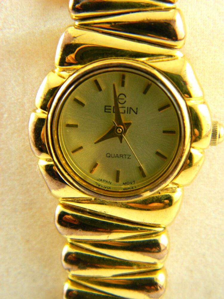 Elgin gold tone ladies watch small face ebay for Small size womans watch