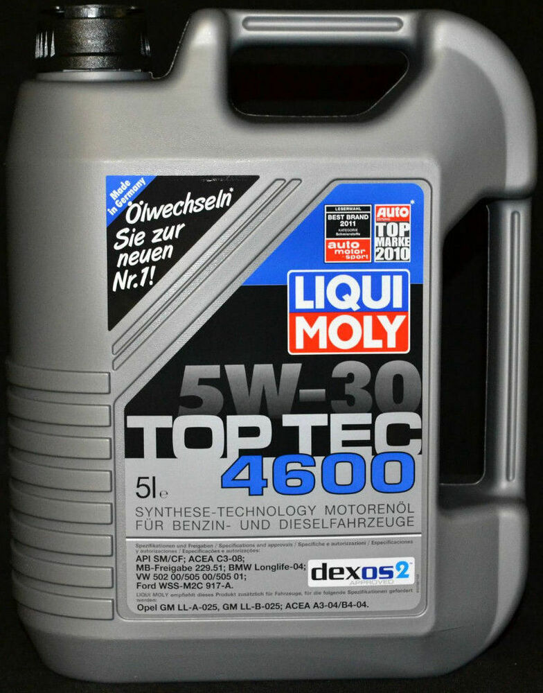 5 liter liqui moly top tec 4600 dexos2 motor l 5w 30 mb vw. Black Bedroom Furniture Sets. Home Design Ideas