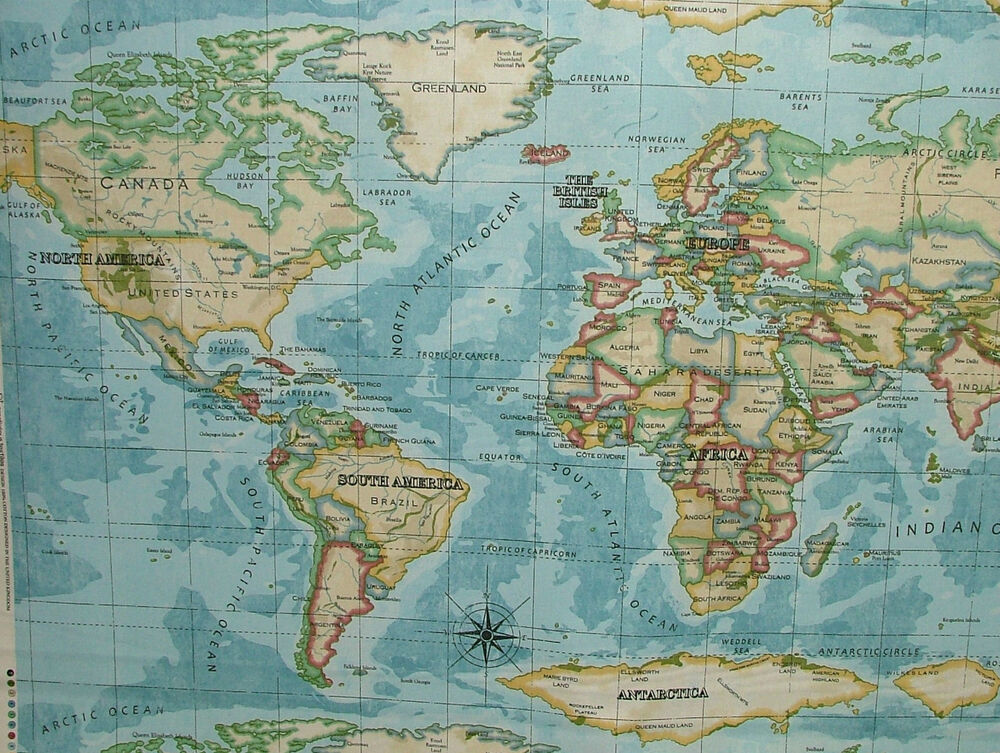 prestigious atlas world map azure designer cotton curtain