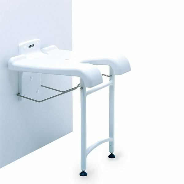 Wall Mounted Fold Up Shower Bath Seat Bench With Drop Down Legs Folding And G