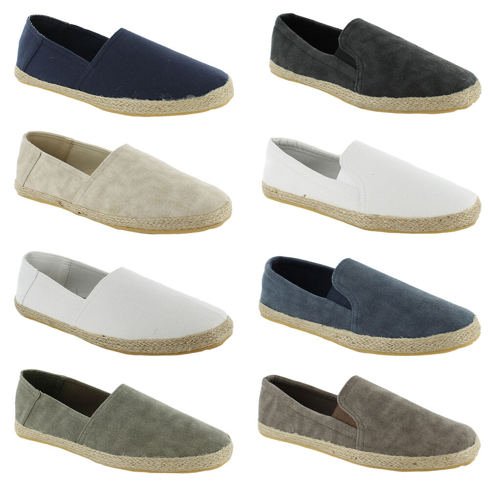 new mens canvas plimsolls slip on plims espadrilles