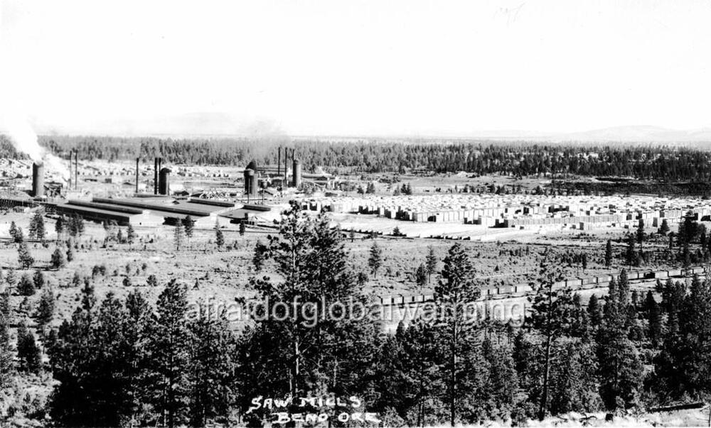 Old photo bend oregon sky view of sawmills ebay for Reclaimed wood bend oregon