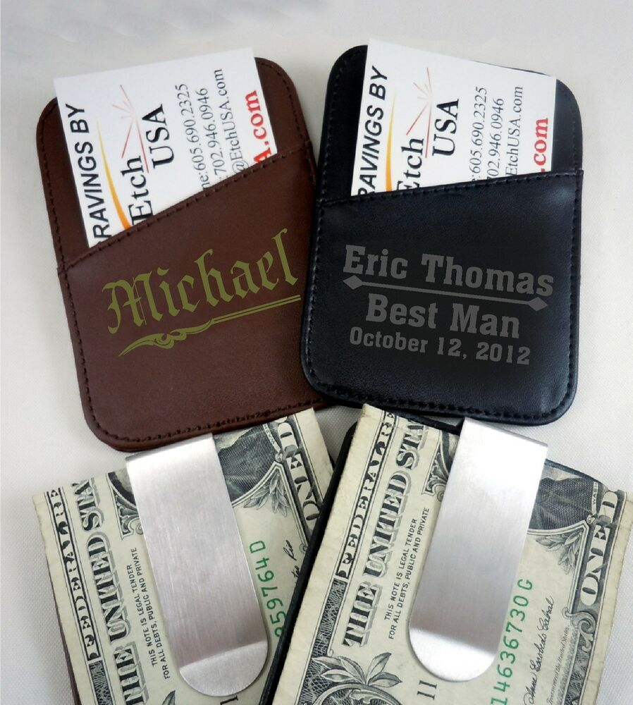 personalized leather money clips groomsmen wedding gifts laser
