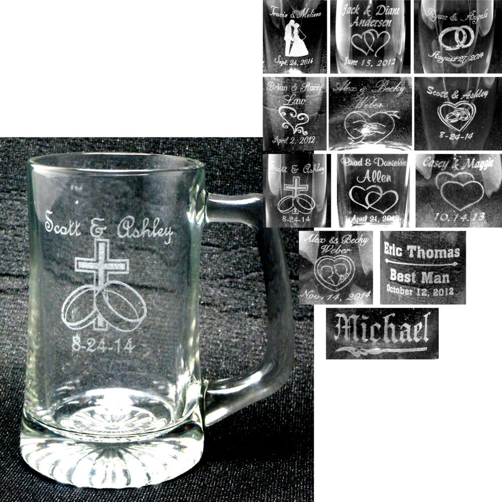 Wedding Party Gifts: Personalized Glass Mugs Laser Engraved Wedding Party Gifts