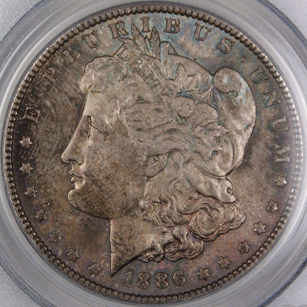 1886 Morgan Silver Dollar Coin Pcgs Ms 62 Toned Ebay