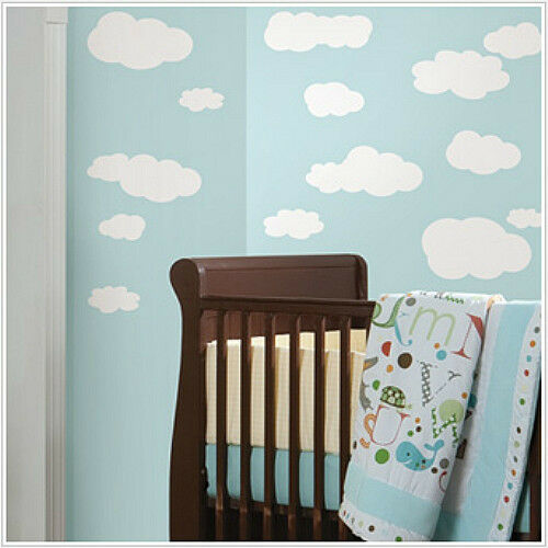 Clouds white wall stickers 19 big decals nursery room for Clouds wall mural