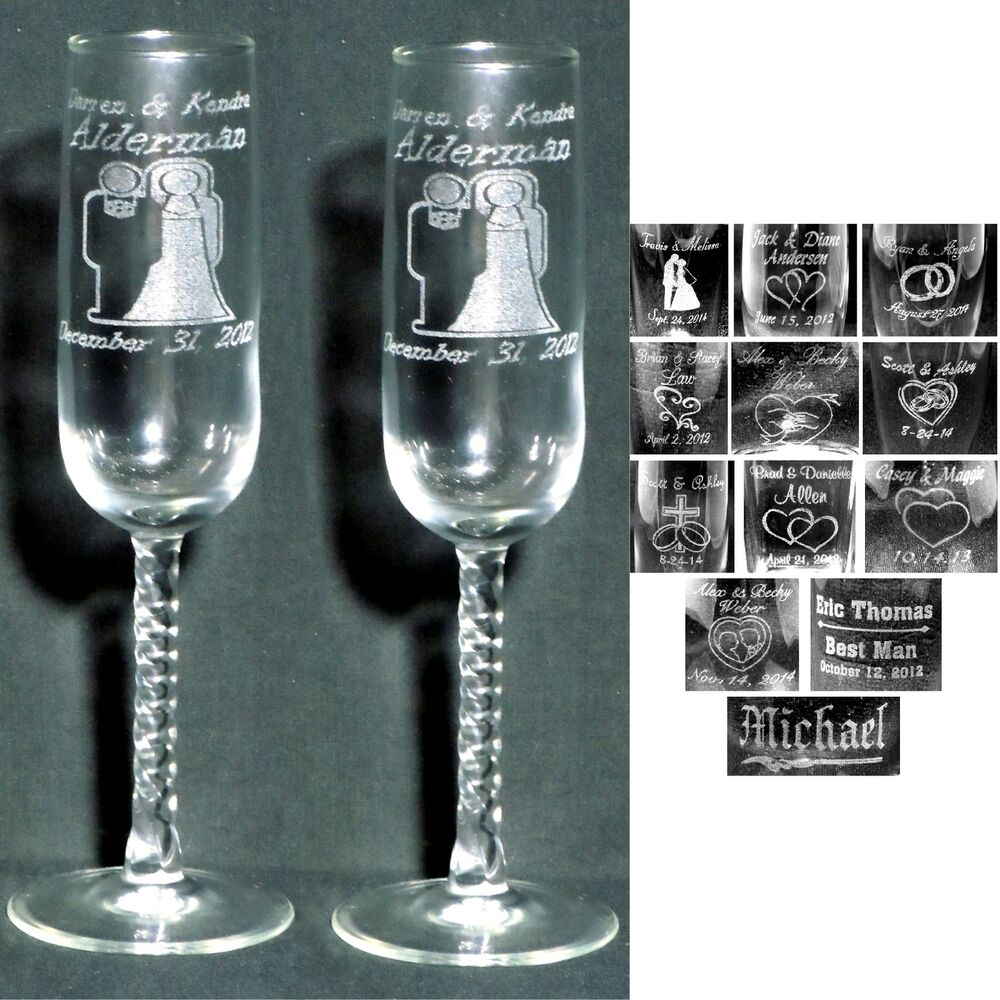 ... Personalized Toasting Flutes - Laser Engraved for Wedding Party Gifts