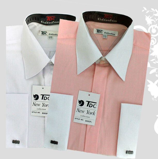 Men 39 s stylish tdc collection pink white french cuff for Mens dress shirts french cuffs