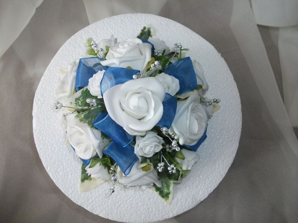 wedding cake royal blue flower wedding flower cake topper royal blue amp white ebay 23723