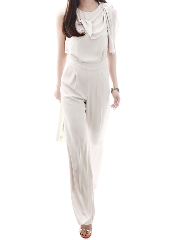 Wonderful Womens Elegant Sleeveless Belted Wide Leg Jumpsuit White  PINK QUEEN