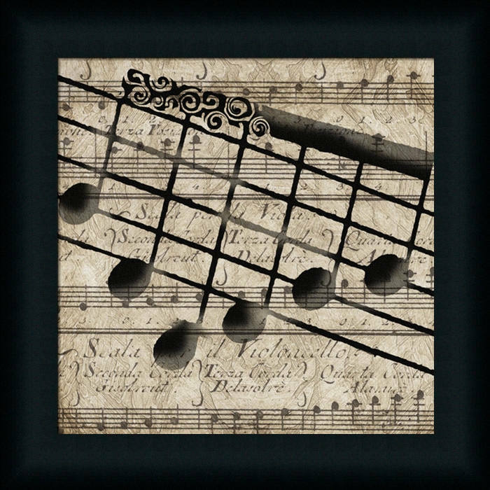 Musical i by lisa wolk music notes framed art print wall for Picture wall decor