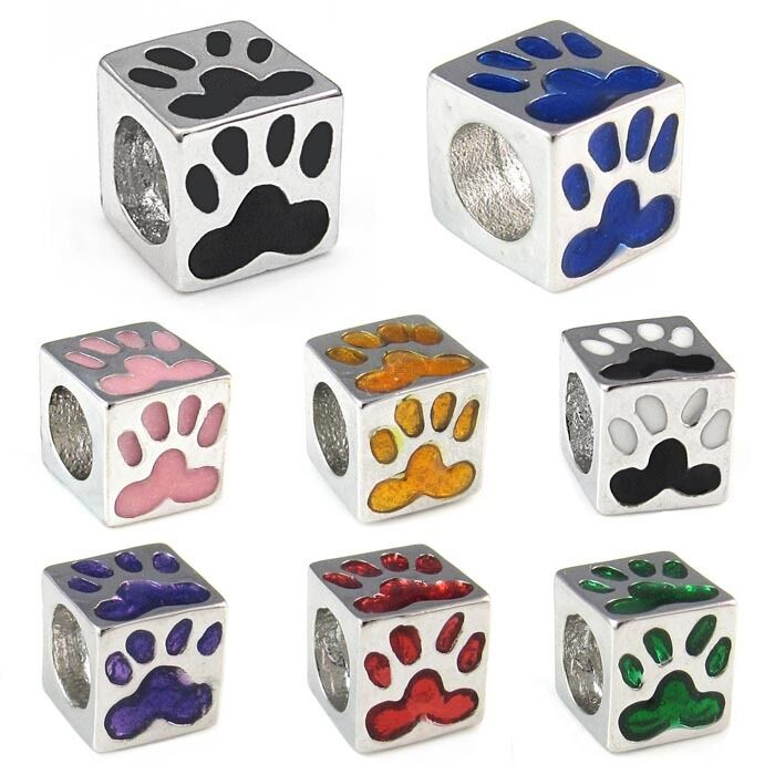 Dog Paw Print Silver European Spacer Charm Bead For ...