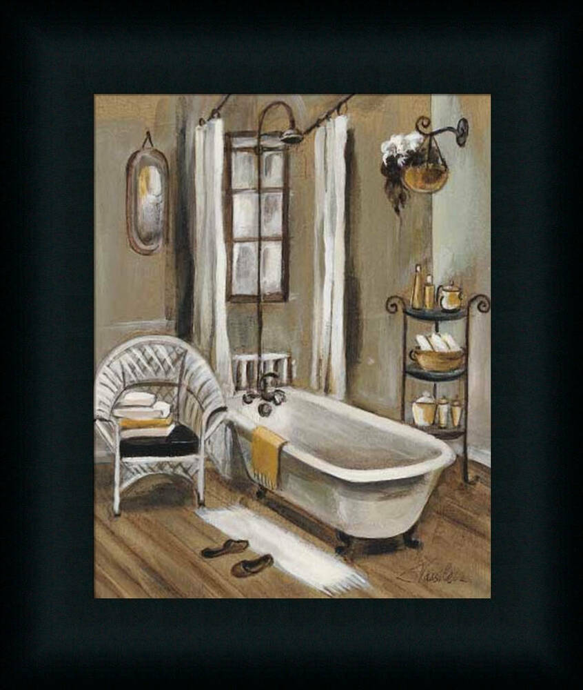 French bath ii silvia vassileva bathroom spa framed art for Spa bathroom wall decor